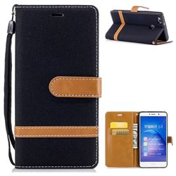 Jeans Cowboy Denim Leather Wallet Case for Huawei Honor 6X Mate9 Lite - Black