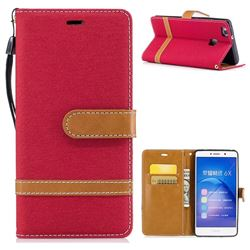 Jeans Cowboy Denim Leather Wallet Case for Huawei Honor 6X Mate9 Lite - Red