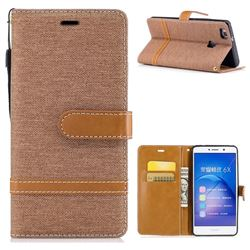 Jeans Cowboy Denim Leather Wallet Case for Huawei Honor 6X Mate9 Lite - Brown