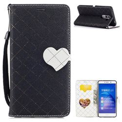 Symphony Checkered Dual Color PU Heart Leather Wallet Case for Huawei Honor 6X Mate9 Lite - Black