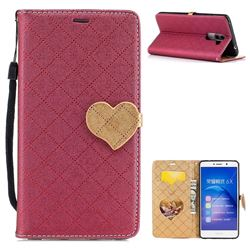 Symphony Checkered Dual Color PU Heart Leather Wallet Case for Huawei Honor 6X Mate9 Lite - Red