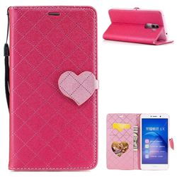 Symphony Checkered Dual Color PU Heart Leather Wallet Case for Huawei Honor 6X Mate9 Lite - Rose