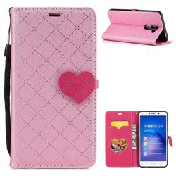 Symphony Checkered Dual Color PU Heart Leather Wallet Case for Huawei Honor 6X Mate9 Lite - Pink