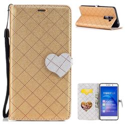 Symphony Checkered Dual Color PU Heart Leather Wallet Case for Huawei Honor 6X Mate9 Lite - Golden