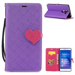 Symphony Checkered Dual Color PU Heart Leather Wallet Case for Huawei Honor 6X Mate9 Lite - Purple