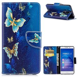 Golden Butterflies Leather Wallet Case for Huawei Honor 6X Mate9 Lite