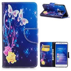 Yellow Flower Butterfly Leather Wallet Case for Huawei Honor 6X Mate9 Lite