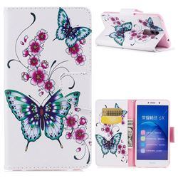 Peach Butterfly Leather Wallet Case for Huawei Honor 6X Mate9 Lite