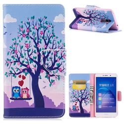 Tree and Owls Leather Wallet Case for Huawei Honor 6X Mate9 Lite