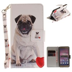 Pug Dog Hand Strap Leather Wallet Case for Huawei Honor 8