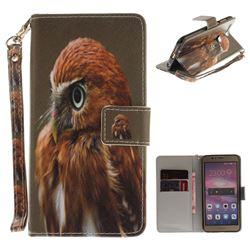 Young Eagle Hand Strap Leather Wallet Case for Huawei Honor 8