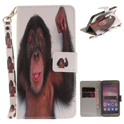 Cute Monkey Hand Strap Leather Wallet Case for Huawei Honor 8