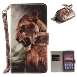 Majestic Lion Hand Strap Leather Wallet Case for Huawei Honor 8