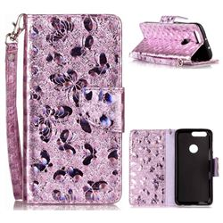 Luxury Laser Butterfly Optical Maser Leather Wallet Case for Huawei Honor 8 - Purple