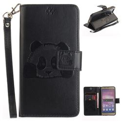 Embossing 3D Panda Leather Wallet Case for Huawei Honor 8 - Black