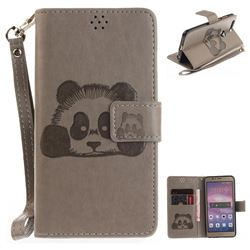 Embossing 3D Panda Leather Wallet Case for Huawei Honor 8 - Gray