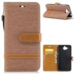Jeans Cowboy Denim Leather Wallet Case for Huawei Y5 (2017) - Brown