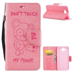 Intricate Embossing Chainsaw Bear Leather Wallet Case for Huawei Y5 (2017) - Pink