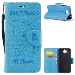 Intricate Embossing Chainsaw Bear Leather Wallet Case for Huawei Y5 (2017) - Light Blue