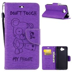 Intricate Embossing Chainsaw Bear Leather Wallet Case for Huawei Y5 (2017) - Purple
