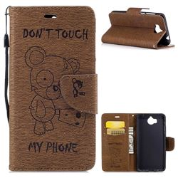Intricate Embossing Chainsaw Bear Leather Wallet Case for Huawei Y5 (2017) - Coffee