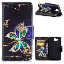 Golden Shining Butterfly Leather Wallet Case for Huawei Y5 (2017)