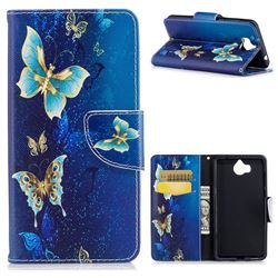 Golden Butterflies Leather Wallet Case for Huawei Y5 (2017)