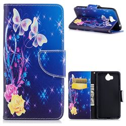 Yellow Flower Butterfly Leather Wallet Case for Huawei Y5 (2017)