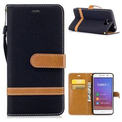 Jeans Cowboy Denim Leather Wallet Case for Huawei Y5II Y5 2 Honor5 Honor Play 5 - Black