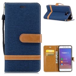 Jeans Cowboy Denim Leather Wallet Case for Huawei Y5II Y5 2 Honor5 Honor Play 5 - Dark Blue