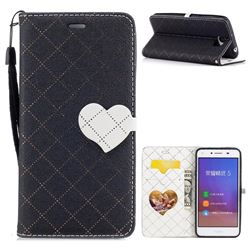 Symphony Checkered Dual Color PU Heart Leather Wallet Case for Huawei Y5II Y5 2 Honor5 Honor Play 5 - Black