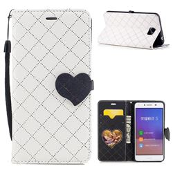 Symphony Checkered Dual Color PU Heart Leather Wallet Case for Huawei Y5II Y5 2 Honor5 Honor Play 5 - White