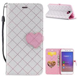Symphony Checkered Dual Color PU Heart Leather Wallet Case for Huawei Y5II Y5 2 Honor5 Honor Play 5 - Gray