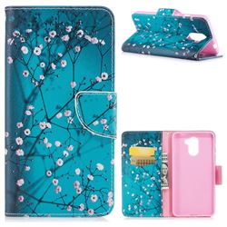 Blue Plum Leather Wallet Case for Huawei Y7