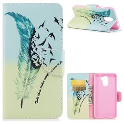 Feather Bird Leather Wallet Case for Huawei Y7