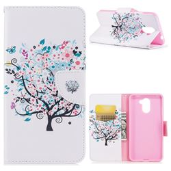 Colorful Tree Leather Wallet Case for Huawei Y7