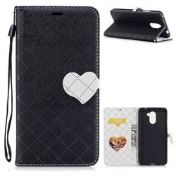 Symphony Checkered Dual Color PU Heart Leather Wallet Case for Huawei Y7 - Black