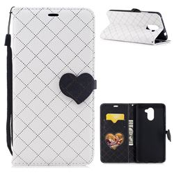 Symphony Checkered Dual Color PU Heart Leather Wallet Case for Huawei Y7 - White