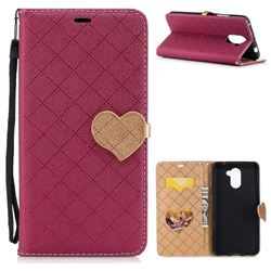 Symphony Checkered Dual Color PU Heart Leather Wallet Case for Huawei Y7 - Red