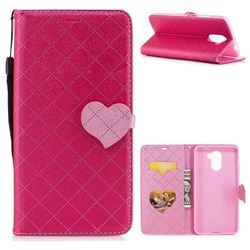 Symphony Checkered Dual Color PU Heart Leather Wallet Case for Huawei Y7 - Rose