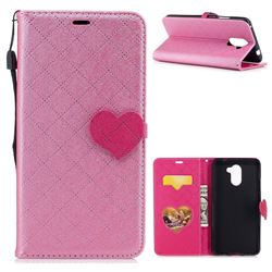 Symphony Checkered Dual Color PU Heart Leather Wallet Case for Huawei Y7 - Pink