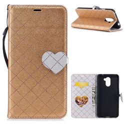Symphony Checkered Dual Color PU Heart Leather Wallet Case for Huawei Y7 - Golden