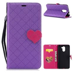 Symphony Checkered Dual Color PU Heart Leather Wallet Case for Huawei Y7 - Purple