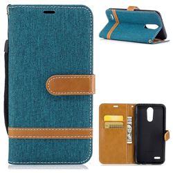 Jeans Cowboy Denim Leather Wallet Case for LG K10 2017 - Green
