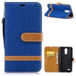 Jeans Cowboy Denim Leather Wallet Case for LG K10 2017 - Sapphire
