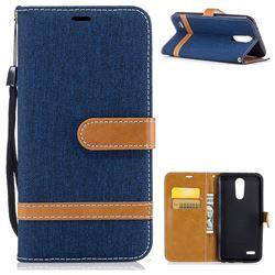 Jeans Cowboy Denim Leather Wallet Case for LG K10 2017 - Dark Blue