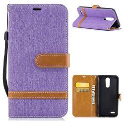 Jeans Cowboy Denim Leather Wallet Case for LG K10 2017 - Purple