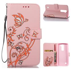 Embossing Narcissus Butterfly Leather Wallet Case for LG K7 - Pink