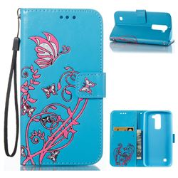 Embossing Narcissus Butterfly Leather Wallet Case for LG K7 - Blue