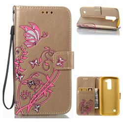 Embossing Narcissus Butterfly Leather Wallet Case for LG K7 - Golden